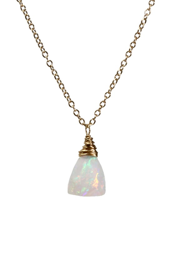 14k Gold White Opal Triangle Necklace*Natural Ethiopian Welo Opal* Solid 14k Gold October Birthday Birthstone Women's Jewelry Gift Idea