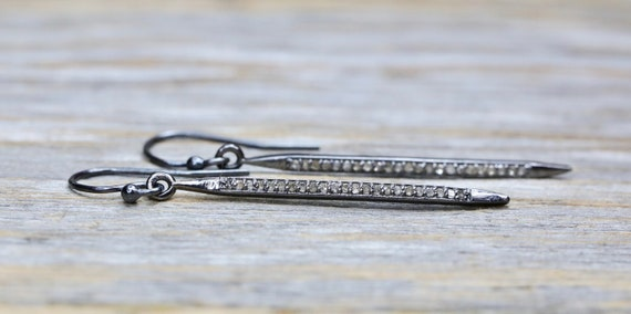 "Genuine Diamond Spike French Hook Earring Champagne Diamond Sterling Silver- 1.8"" length"