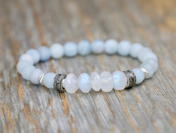 Aquamarine Rainbow Moonstone Bracelet march birthstone Diamond Sterling Silver March birthday gift for her beaded bracelet stack bracelet