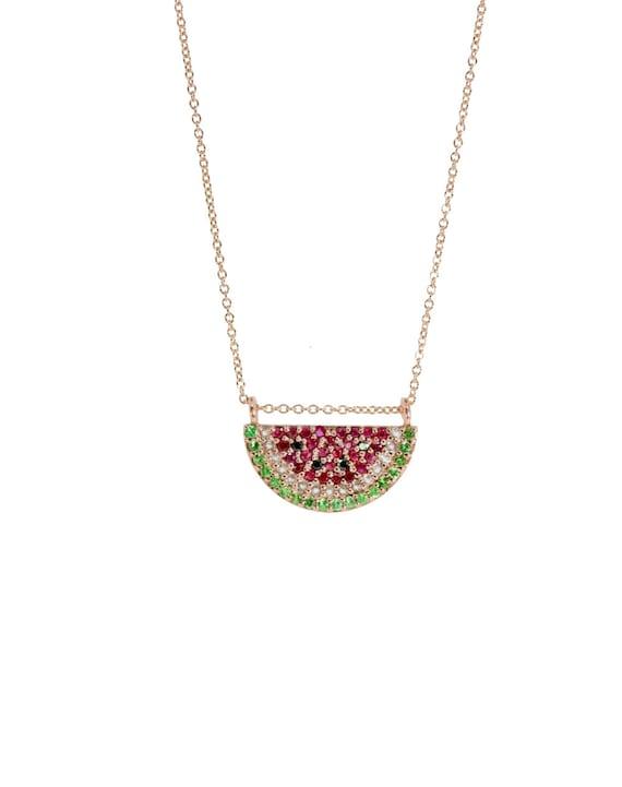 Gemstone Watermelon Pendant Necklace