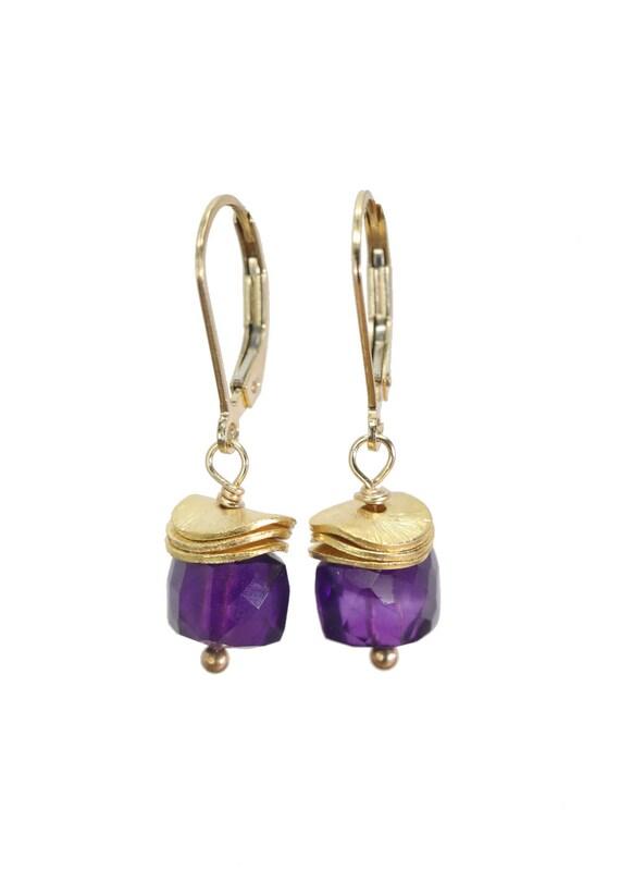 Amethyst Gemstone Earrings * February birthstone Gift for Her * Short Amethyst Cube Earring* 14k Gold Filled