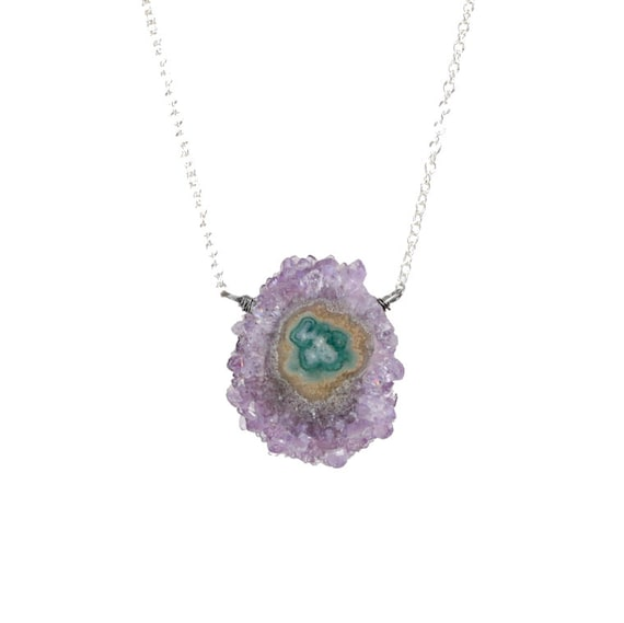 Natural raw stalactite*raw crystal slice pendant Necklace * amethyst quartz *sterling silver