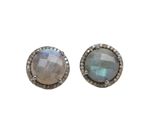 Labradorite Diamond Stud Earring *Large Round labradorite diamond halo stud earring pave diamond oxidized sterling labradorite stud