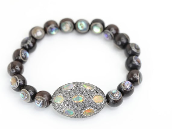 Opal Diamond Abalone Wood  Bracelet
