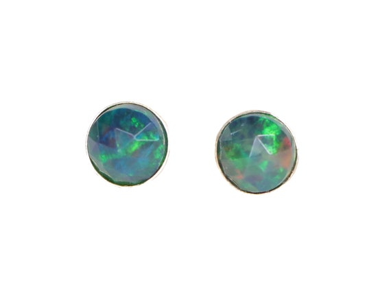 Ethiopian Black Opal Studs-Black Opal Gemstone-Bezel Set Stud Earring-October birthstone-Black and Blue Studs