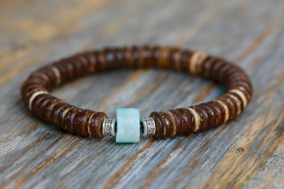 Men's Coconut Wood Bracelet with Customizable Gemstone Focal