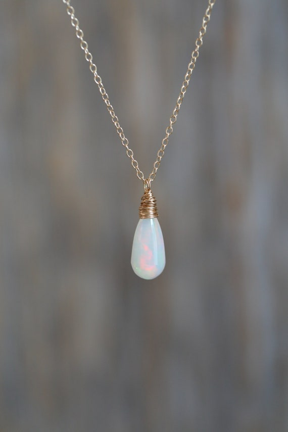 14k Gold White Ethiopian Welo Opal Teardrop Necklace* Genuine Opal Gemstone* Solid 14k Gold* October Birthstone* Women's Fine Jewelry