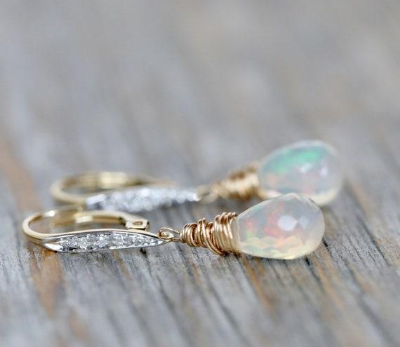 14k Gold Opal Teardrop Earrings*Ethiopian Welo Opal*October Birthstone Birthday Gift idea for Her*Ethiopian Opal Gemstone Earrings Women's