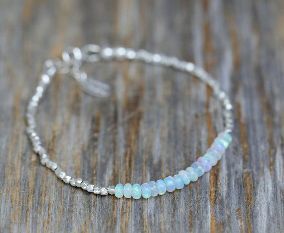 Genuine Opal Gemstone Sterling Silver Wrap Bracelet- October Birthstone Women's Jewelry Gift Idea