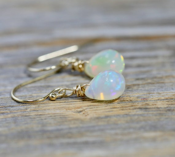 Opal Teardrop Earrings*Ethiopian Welo Opal*October Birthday Gift*Fire Opal Earrings*Boho Opal Gemstone Earrings*14k Gold Filled
