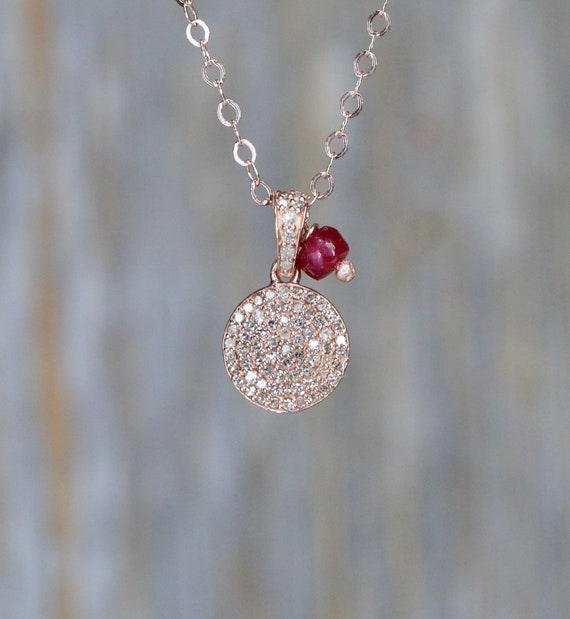 "Rose Gold Diamond Disc Necklace* genuine pave diamonds* ruby gemstone *18""-Length * Valentine's Day Gift for Her"