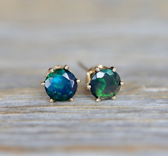 Opal Earrings-October Birthstone-Ethiopian Opal Stud-Black Opal Earring- Welo Opal Studs