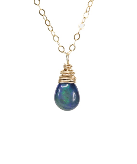 Blue Opal necklace Blue Black opal Gemstone Drop Necklace 14K gold filled October birthstone October birthday gift for her