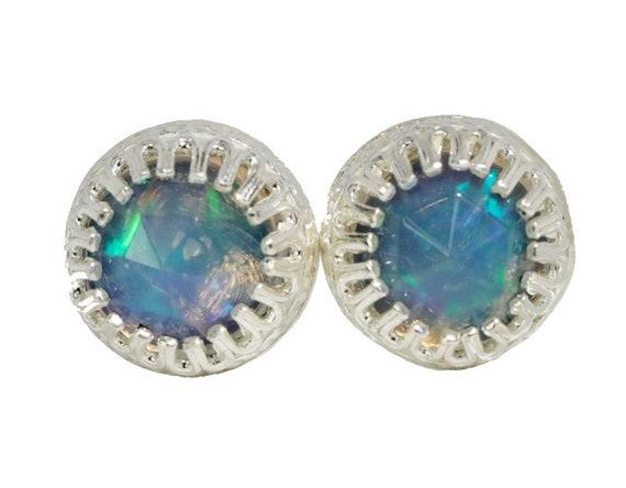 Opal Stud Earring 6mm opal stud Sterling Silver Bezel Set Earring* Women's Jewelry Gift Idea Rose Cut Ethiopian Welo Opal Gemstones