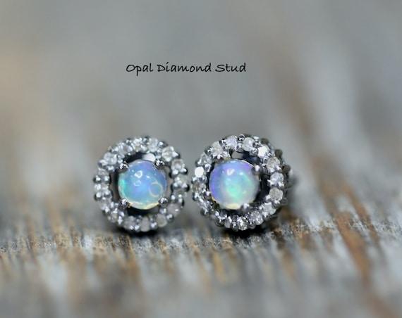 Opal Pave Diamond Stud Earrings