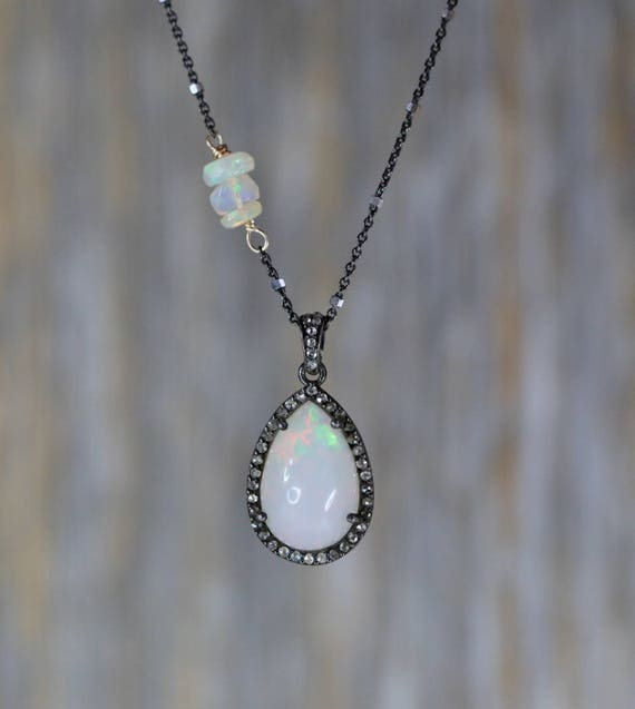 Opal necklace Ethiopian Opal Diamond Halo Teardrop Pendant *White opal*October birthstone*sterling silver*mixed metal* Women's Necklace