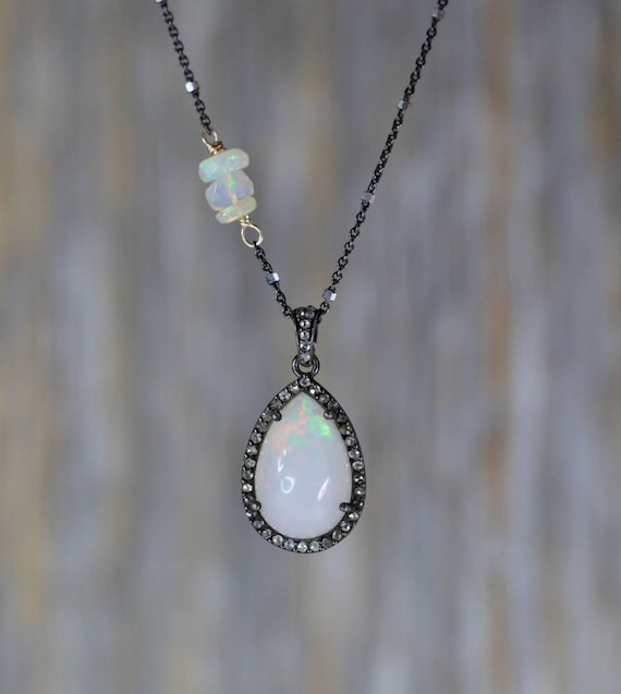 Holiday gift for Her* Opal necklace Ethiopian Opal Diamond Halo Teardrop Pendant *White opal*October birthstone*sterling silver*mixed metal