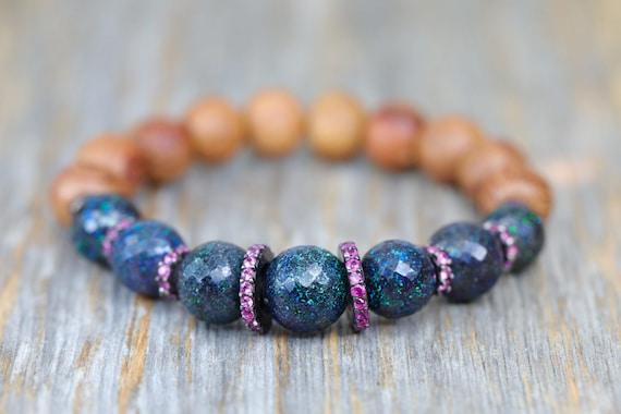 Rare Australian Black opal Bracelet Pink Sapphire