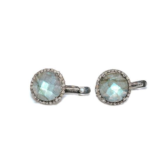 Labradorite Diamond Drop Earring *Large Round Genuine Labradorite Gemstone*  Latch Back Earring * Pave Diamond Oxidized Sterling .925