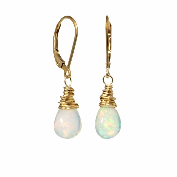 Opal Earring* Mother's Day Gift Idea for Her* 14k gold filled* Ethiopian Welo Opal* natural opal gemstone* fire opal