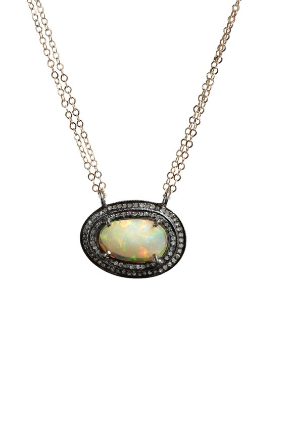 Opal Diamond Necklace* Rose Cut Ethiopian opal gemstone* 14k gold filled *Oxidized Sterling Silver*double bail pendant*October Birthstone