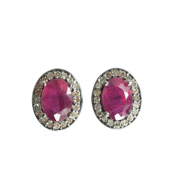 Oval Ruby Diamond Stud Earrings