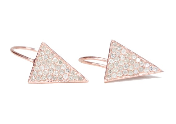 Diamond Triangle Earring Rose Gold over Sterling Silver genuine pave diamonds Gift For Her Anniversary Holiday