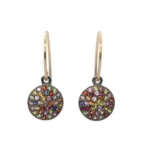 Multi SAPPHIRE Disc Earrings * Multi Color sapphire gemstones- pink blue orange yellow and red (ruby)- circle disc drop earring