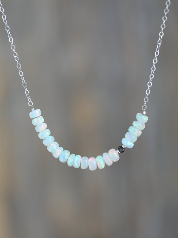 Raw Black Diamond Opal Gemstone Bar Necklace* Women's Jewelry Gift Idea for Her* Sterling Silver* 14k Gold Fill*ROSE gold* Solid 14k options