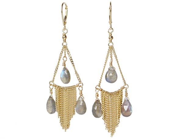 14 karat Gold Labradorite Gemstone Fringe Chandelier Earrings* Only one pair