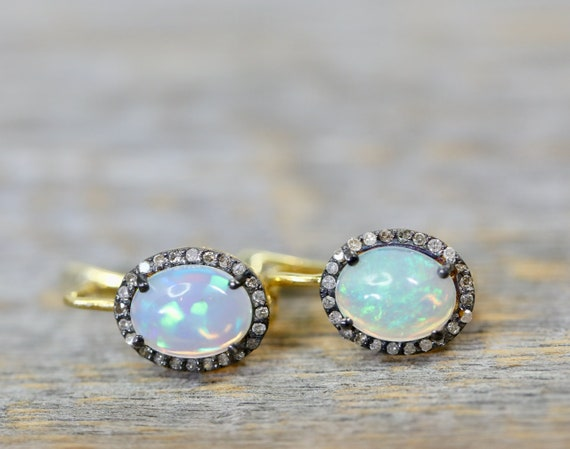 Opal Diamond Halo Drop Earrings*