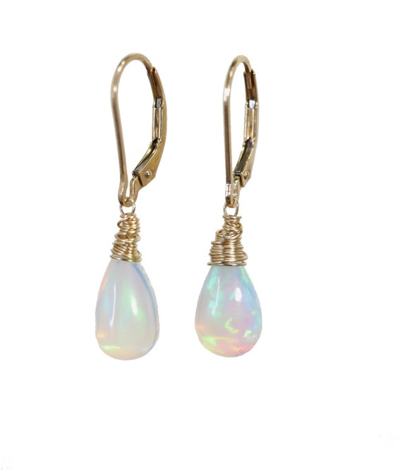Large Opal Teardrop Earrings- Solid 14k Gold- Natural Ethiopian Opal Gemstone-October Birthstone Women's Fine Jewelry*Mother's Day Gift
