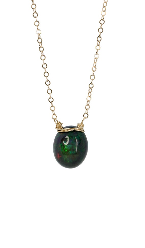 Large Black Opal Pendant Necklace* Large Oval Egg Shaped Ethiopian Opal Gemstone* 14k Gold Filled* Mother's Day Gift Idea for Her