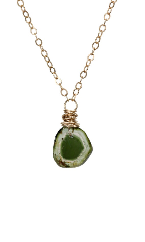 Green Tourmaline Necklace * tourmaline gemstone tourmaline slice tourmaline pendant October birthstone Gift for her 14k gold filled