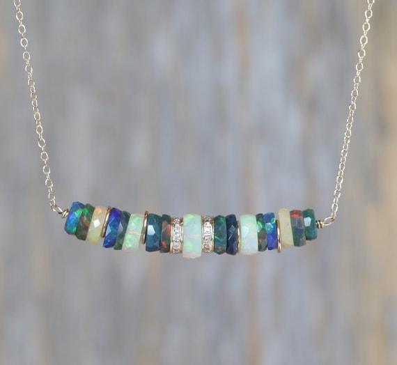 Opal Gemstone Bar Necklace