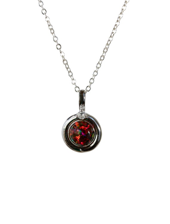 Black Opal Sterling Silver Round Circle Pendant Necklace- Black with red color play- Holiday Gift Idea- Women's Jewelry- Stocking Stuffer