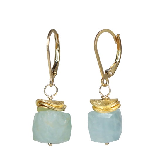 Aquamarine Gemstone earring* cube earring* Gift for her* simple modern elegant Aqua gold Geometric Short Earring