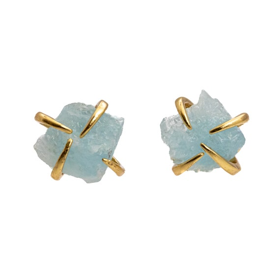 Raw Aquamarine Prong Stud Earring *March Birthstone *March birthday Gift For Her* Simple Modern Elegant Boho Earthy* healing crystal*