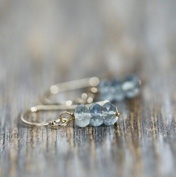 Aquamarine Stack Earrings * 14k Gold Filled * Genuine Aquamarine Gemstones * March Birthstone * Women's Jewelry * Gift Idea
