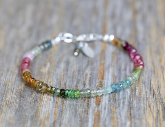Tourmaline Gemstone Bracelet-Ombre Tourmaline Rainbow-Ombre Beaded Bracelet-Silver Beaded Bracelet-October Birthday Gift