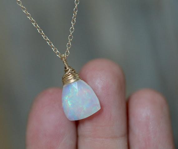 14k Gold Opal Gemstone Triangle Necklace