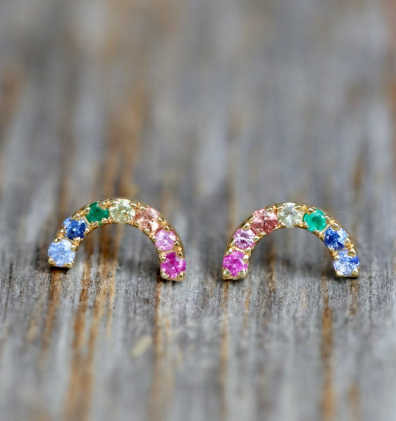 RAINBOW STUD EARRING* rainbow gemstones pink yellow orange blue sapphire emerald* 14k Yellow gold rainbow stud*on trend