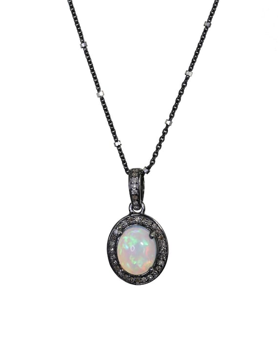 Opal Diamond Oval Pendant Necklace* Ethiopian Welo Opal *925 Sterling Silver* Pave Diamonds* October Birthstone Birthday Gift Idea for Her