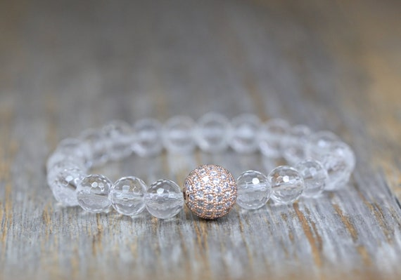 Clear Rock Quartz Crystal bracelet Rose Gold pave crystal- large clear gemstone- boho stack bracelet-  Women's Jewelry Gift Idea