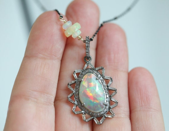 Large Rose Cut Ethiopian Opal Pendant Necklace Pave and Baguette Diamonds Oxidized Sterling Silver*Women's Jewelry Gift Idea*