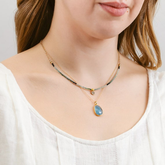 Moss Aquamarine Gemstone Dainty Choker Diamond Disc Pendant Necklace*March Birthstone Birthday Gift*Genuine gold vermeil Pave Diamond Disc