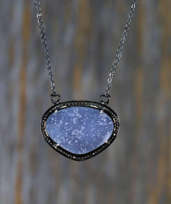natural blue druzy necklace pave diamond oxidized silver lilac blue druzy cornflower blue druzy gifts for her light blue druzy necklace
