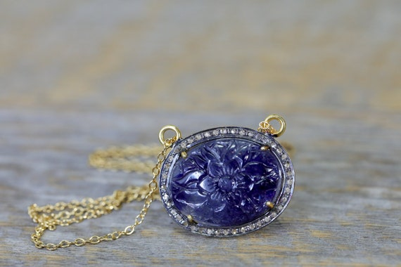 Carved Flower Blue Sapphire Gemstone Pendant Necklace- Pave Diamond Sterling Silver September Birthstone Women's Jewelry Gift Idea- Rare