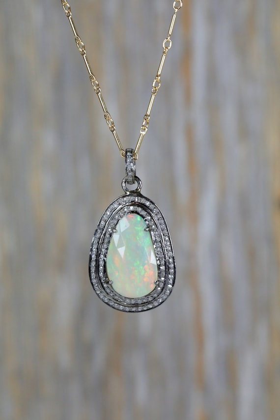 Large Opal Diamond Pendant Necklace