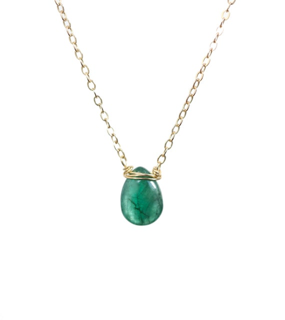 Natural Zambian Emerald Solitaire Necklace- May Birthstone Birthday Gift Idea- Mother's Day- Genuine Zambian Emerald Pear Shaped